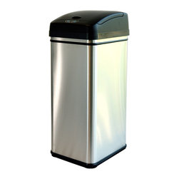 iTouchless - iTouchless 13-gallon Deodorizer Filtered Stainless Steel Sensor Trash Can - Fight odors in your home with this modern sensor trash can. It features a carbon filter, which helps to eliminate odors instead of covering them up with sprays and powders, and it offers hands-free operation to help prevent the spread of germs.