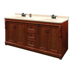 Pegasus - Naples 60 in. Double Vanity - NACA6021D - Manufacturer SKU: NACA6021D. Vanity top, faucet, sink and backsplash not included. Transitional design. Fours doors. Three full extension dovetail drawers. Black birdcage style hardware. Easy to clean PVC coated maple interior. Plywood side construction. Warm cinnamon finish. No assembly required. 60 in. W x 21.63 in. D x 34 in. H (120 lbs.)