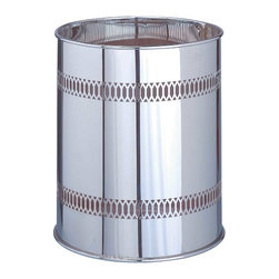Renovators Supply - Wastebaskets Bright Chrome Wastebasket | 10051 - Chrome Wastebasket. Chrome over solid Brass. Perfect for your bathroom. Accessories can be elegant too. This item measures 11 inch high x 9 inch diameter. Decorative wastebasket adds style to any bathroom. Try a vintage wastebasket made of shrome.