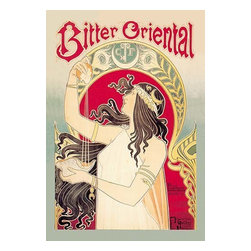 """Buyenlarge.com, Inc. - Bitter Oriental - Paper Poster 20"""" x 30"""" - An early advertisement for Absinthe. Henri Privat-Livemont (1861-1936) was an artist born in Schaerbeek, Brussels, Belgium. He is best known for his Art Nouveau posters. From 1883 to 1889, he worked and studied in the studios of Lemaire, Lavastre & Duvignaud. He, with Lemaire, created the decor of the Theatre Francais as well as the Hotel de Ville, Paris. He later moved back to Brussels, and worked on theaters and casinos there."""