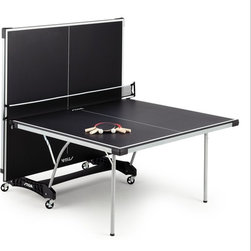 Stiga - Stiga Classic Series Daytona Table Tennis Table Multicolor - T8127 - Shop for Table Tennis and Foosball from Hayneedle.com! Blow off some steam at the end of a hectic day by smashing some tiny plastic balls on the Stiga Classic Series Daytona Table Tennis Table. The black playing surface has a serious modern feel to elevate your matches to a new level. The steel apron with cross brace provides excellent support and consistent bounce while the rigid unibody chassis with support panels supplies added strength. Magnetic wheel casters and self-opening legs make it easy to move this table to and from storage; two of the wheels lock during play. Regulation-style edge banding and silk-screened striping ensure fair judging and the corner protection pads prevent snags. This table includes the net and post for complete set-up (balls and paddles not included). We've timed it and this table goes from box to play in about three minutes; of course our set-up time didn't include excited kids or friends clamoring for us to hurry up. Storage position dimensions: 32L x 60W x 30H inches Playing dimensions: 108L x 60W x 30H inches About Escalade SportsEscalade Sports originated as Indian Archer and Toy Company in 1927. Since then the company has blossomed into an internationally acclaimed sporting goods manufacturer and distributer. As the world's leading producer and distributer of pool tables table tennis tables and game tables Escalade Sports is known for their quality products and brands new product development and excellent customer service. Headquartered in Evansville Illinois this global company can confidently say that no matter what your game their brands deliver Serious Play.