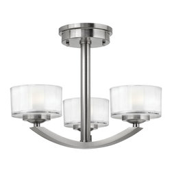 Hinkley Lighting - Meridian 3-Light Semi-Flush Mount - Brushed Nickel finish.Meridian features minimal, transitional design styling with clean lines, soft curves and low-profile faceted 1/2 in. thick glass. This stem hung, simplistic design will add a crisp focal point to any decor. 5.5 in. diameter canopy.