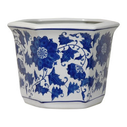 Oriental Unlimted - 10 in. Wide Blue & White Floral Porcelain Flo - Distinctively decorated flower or planter pot. Beautiful planter pots with hole in the bottom for drainage. Strong, durable, fine quality Chinese high temperature fired porcelain. 10 in. W x 9 in. D x 7.5 in. H (5.5 lbs.)