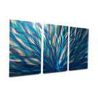 """Miles Shay - Metal Wall Art Decor Abstract Contemporary Modern Sculpture- Radiance Blue 47"""" - This Abstract Metal Wall Art & Sculpture captures the interplay of the highlights and shadows and creates a new three dimensional sense of movement as your view it from different angles."""