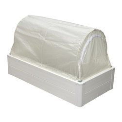Guarden - Guarden GK Series Deep 2 x 4-Foot Mini Greenhouse - GK2448D - Shop for Greenhouses from Hayneedle.com! Additional FeaturesChange covers dependent on the seasonsCover doubles as a season extenderCover features a dual-purpose hinge/latchCover can be opened from either sideHas the features of a raised-bed greenhouseUnlimited root depth compactness and drainageLift out hoops convert the greenhouse to a raised bedConversion doesn't require toolsHeavy duty plastic frameFrame has 3 internal insulating air cellsAir cells keep the soil's heat from escapingFrame will not fade crack rot or splitBeautiful rounded cornersPre-drilled holes and push-in fasteners make assembly easyFrame acts as a natural barrier against weedsTitanium Dioxide protects against UV raysLightweight and solidly constructedYou can add heating irrigation or other accessoriesCan be used in your yard patio deck or platformThe Gaurden GK Series Deep 2 x 4-foot Mini Greenhouse let's you enjoy gardening and having fresh plants and flowers all year even if you don't have a lot of space. Constructed to have the solar heat of a cold frame the plant headroom of a greenhouse and the unlimited root depth compactness drainage manageability and convenience of a raised bed this greenhouse is perfect for anyone who is lacking space or wants to try gardening without making a large investment. This mini greenhouse will fit on a patio deck or platform and only requires a landscape liner.With a cover that doubles as a season extender you also have the versatility of switching covers depending on the time of year. The heavy duty plastic frame has three internal insulating air cells which keeps the heat from escaping the soil. It also features Titanium Dioxide to protect against UV rays. The frame will not fade or crack and acts as a natural barrier against weeds. With an extra 5-inches of depth this mini greenhouse will raise your plants to a higher level and showcase them. Lightweight and solidly constructed you can add heating irrigation and other accessories as needed or desired. Made to fit in the smallest of spaces this mini greenhouse measures 24W x 48L x 28.5H inches.