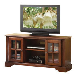 """ACMACM91048 - Basma Cherry Finish Wood TV Stand Entertainment Center with 2 Side Cabinets - Basma cherry finish wood TV stand entertainment center with 2 side cabinets with glass front doors. Measures 48"""" x 16"""" x 24""""H. Some assembly may be required."""