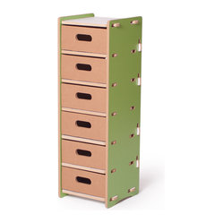 Quark Enterprises - Multidrawer Organizer, Green and White - This could be great in a home office. Your kids' craft supplies could coexist alongside your office essentials, and each family member could have their own drawer.