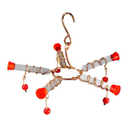 Songbird Essentials - Galaxy Five Hummingbird Feeder - This 5 station hummingbird feeder entices them with red glass bead dangles. A stylish easy-to-handle feeder that brings more nectar to the table.
