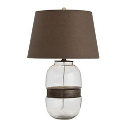 Arteriors - Arteriors Garrison Table Lamp - This clear glass cylinder table lamp is cinched with an iron ring in an antique brass finish. Topped with a mushroom brown linen drum shade lined in sesame cotton. 3-way switch.