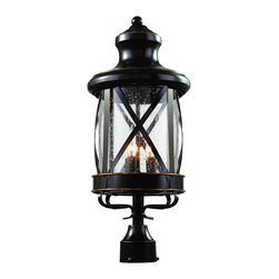 """Trans Globe Lighting - Trans Globe Lighting 5125 ROB New England Coast 26"""" high Post Top Light - Coastal New England horse and carriage post mount lantern. Cross bar frame with rounded seeded glass. Wrought iron post cap and temple top cap."""