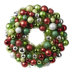Ornament Wreath - This ornament wreath has all of the red, green and sparkle that make the holiday season bright.