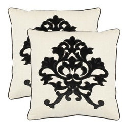 Safavieh Greyson 18 in. Decorative Pillows - Onyx - Set of 2 - What do you see? The Safavieh Greyson 18 in. Decorative Pillows - Onyx - Set of 2 makes a grand contrast, and perhaps an inkblot-style conversation piece. The regal, botanically inspired silhouette will have a special knack for bringing a room together, especially where you're mixing elements from different styles to create a haven that's uniquely yours. A blend of linen and cotton provides a crisp, delightful texture. Hidden zippers might prove convenient.About SafaviehConsidered the authority on fine quality, craftsmanship, and style since their inception in 1914, Safavieh is most successful in the home furnishings industry thanks to their talent for combining high tech with high touch. For four generations, the family behind the Safavieh brand has dedicated its talents and resources to providing uncompromising quality. They hold the durability, beauty, and artistry of their handmade rugs, well-crafted furniture, and decorative accents in the highest regard. That's why they focus their efforts on developing the highest quality products to suit the broadest range of budgets. Their mission is perpetuate the interior furnishings craft and lead with innovation while preserving centuries-old traditions in categories from antique reproductions to fashion-forward contemporary trends.