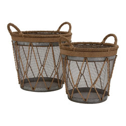Benzara - Unique Style The Cool Set of 2 Metal Burlap Basket Home Decor - Unique and lovely inspired style the cool set of 2 metal burlap basket living and family room home accent decor