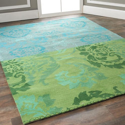 Sea Blues and Green Damask Collage Rug -