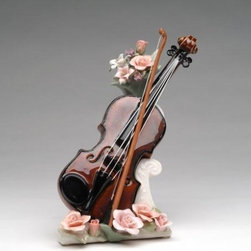 CG - 7.875 Inch Ceramic Musical Violin with Strings Decorated Music Box - This gorgeous 7.875 Inch Ceramic Musical Violin with Strings Decorated Music Box has the finest details and highest quality you will find anywhere! 7.875 Inch Ceramic Musical Violin with Strings Decorated Music Box is truly remarkable.