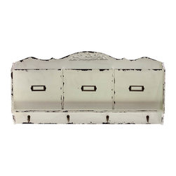 Benzara - Wavy Design and ClassyFaded Pattern Cabinet - Bring out a sophisticated feel to your decor with this wonderful wooden cabinet. This cabinet has lovely elegant white wooden finish with faded style and has multiple uses. The cabinet has wonderful floral design and wavy pattern at top. This cabinet also has strong hooks at the bottom that can be used to hang your coats, hats etc. This multipurpose cabinet is an extremely smart choice and a must have in your home. It will look very elegant at any place in your interiors. Place this beautiful looking wooden cabinet at your home or office and see the difference.This white wooden cabinet is easy to clean and maintain. Your visitors and guests will fall in love with this unique cabinet. You can present this wooden cabinet to your family or friends and they will surely love you for your creative and thoughtful choice. So wait no more and get it now. This cabinet measures 32.29 inch (width) x3.94inch (D) x15.75 inch (H); Elegant floral design at top; Blends well in formal as well as informal environments