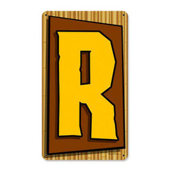 Tiki Letter R Metal Sign Wall Decor 8 x 14 - Tiki Letter R Metal Sign Wall Decor From the Retro Planet licensed collection, this Tiki Letter R metal sign measures 8 inches by 14 inches and weighs in at 1 lb(s). This metal sign is hand made in the USA using heavy gauge american steel and a process known as sublimation, where the image is baked into a powder coating for a durable and long lasting finish. This metal sign is drilled and riveted for easy hanging.