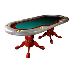 BBO Poker Tables - Premier 94 in. Luxury Poker Table - Green Sui - 10 Player Positions: 9 Players and 1 Dealer. 4 in. Brass Cup Holders In Armrest. Drop Box Included. Drop Slot With Bill Cover Included. Removable Playing Surface - A BBO Exclusive!. Oak Ball and Claw Hand-crafted Table Legs and Pedestal. Mahogany Gloss Paint Finish. Poker Dimensions: 94 in. x 44 in. x 30 in.. Dining Dimensions: 96 in. x 48 in. x 32 in.For players who want to make a statement without saying a word, we present the Premier. Designed to accommodate the upscale poker night, the Premier was designed exclusively by BBO Poker Tables for consumers that desire the best.The first thing your guests will comment on is usually our convertible dealer section, which has an isolated dealer position without the tray. In most home-games, there's rarely chip color ups during play, which renders an actual chip tray useless. Our convertible dealer section is actually a standard player position when the table is operating on full handed action. But as happens in most poker games, when players lose their stack, the table can be arranged so a busted player takes over the dealer position and commences dealing the rest of the evening for their buddies. We can only provide the dealer position, that guy you sucker into dealing for the remainder of the evening, that's up to you to find..The Premier features a 7in ultra-wide, cup-holder (4in) mounted armrest which gives the table a superior stability when players are resting their arms. The playing surface features a 4in oak racetrack for stacking mountains, and the hand carved solid oak pedestals give the table a worthy base.The Premier also comes with a pre-mounted drop box and bill slot, in the event you need to take a rake, or even just to keep the monopoly money safe during the game.The Premier is optimized for exclusive home games, and is a BBO Poker Tables best seller!All Premiers come with the industrys best 1 YEAR WARRANTY.
