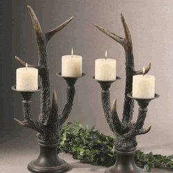 19204 Stag Horn Candleholder S/2: Dancing Lights To Enlighten You - Asher Home Decorators:If you are looking for low cost but rare to find elsewhere decor items to brighten up small and prominent spaces of your house to celebrate special moments, browse over the products category of 'UTTERMOST', US based leading home decor store. This home decor trend setter store, popularly known as UT, offers wide range of candle stands that are more than being just the candle holders. 19204 Stag Horn Candleholder S/2 is one such decorative item that has been the favorite choice of decor enthusiasts. UT 19204 Stag Horn Candleholder, a set of two, is exclusively designed for UT by Grace Feyock for limited editions. It is made with burnished, bone ivory finish with mahogany and golden bronze accents. Distressed beige candles are included as short period promotional offer. Each piece of UT Stag Horn Candleholder measures 14 inch width X 24 inch height X 8 inch depth in size. Enjoy your dinner or special moments in dancing lights of candles.