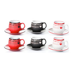 "Concepts Life - Concepts Life Espresso Cup Set  Coffee Talk Round  Set of 6 - Treat your friends to a delectable cup of espresso in our hand-painted espresso stoneware set. These high-fired ceramic cups are extremely durable and have a great weight to them. The bold colors and 'coffee, espresso' labels will add a bit of zest to your daily morning routine.  12 piece set includes 6 espresso cups and 6 saucers Hand painted ceramic 8 ounce espresso cups Great for Latte and Cappuccino as well Measures:3""H X 3"" opening"