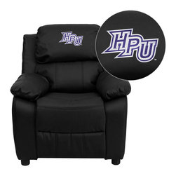 "Flash Furniture - High Point University Panthers Black Leather Kids Recliner with Storage Arms - Get young kids in the college spirit with this embroidered college recliner. Kids will now be able to enjoy the comfort that adults experience with a comfortable recliner that was made just for them! This chair features a strong wood frame with soft foam and then enveloped in durable leather upholstery for your active child. This petite sized recliner features storage arms so kids can store items away and retrieve at their convenience. High Point University Embroidered Kids Recliner; Embroidered Applique on Headrest; Overstuffed Padding for Comfort; Easy to Clean Upholstery with Damp Cloth; Flip-Up Storage Arms; Storage Arm Size: 3.25""W x 6""D x 11""H; Solid Hardwood Frame; Raised Black Plastic Feet; Intended use for Children Ages 3-9; 90 lb. Weight Limit; Black LeatherSoft Upholstery; LeatherSoft is leather and polyurethane for added Softness and Durability; CA117 Fire Retardant Foam; Safety Feature: Will not recline unless child is in seated position and pulls ottoman 1"" out and then reclines; Overall dimensions: 25""W x 26"" - 39""D x 28""H"