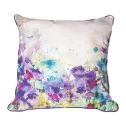 Meadow Decorative Pillow - Soft and delicate this elegant pillow from the Graham & Brown cushion collection features a pretty watercolour meadow in beautiful purple tones. This delicate feminine design makes this pillow perfect to mix into any colour palette within the home. Made from 100% cotton at the beautiful size of 50x50cm and generously filled with polyester hollow fibre this quirky pillow is both plush and cosy. Featuring a complimenting coloured back and colour co-ordinating piping and zip, each pillow in our unique range is finished to perfection.