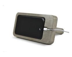 Zeitgeist Factory - iPhone 5 Dock, Gray - Whether you're rocking out to your tunes or watching an old Rock Hudson movie, this phone dock is for you. It's made from a blend of cement and recycled stone dust, molded to hold your iPhone 5 horizontally or vertically.