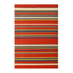 Abacasa - Modern Kids Area Rug - Rectangular shape. Machine-woven. Red stripes with accents and flat pile. Bright colors and trendy design. Made from 100% soft olefin yarns. Red, ivory and navy color. Made in Belgium. 5 ft. 6 in. L x 3 ft. 9 in. W (15 lbs.). Care InstructionsThis collection adds a fun and cheerful element to any child's room. Creates a natural source of sound absorption. Pulls the overall look of the room together.