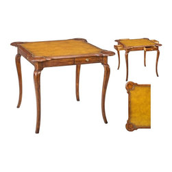 EuroLux Home - Games Table Antique Brown Leather Inlay - Product Details