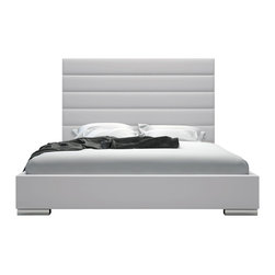 Modloft - Prince King Bed, Warm Gray Leatherette - Adorn your bedroom with the striking Prince bed. Its strong appearance features a tall eco leather panel-tufted headboard standing five feet tall. Tailored side rails and footboard complete the bed, and because of its trim proportions, the Prince can accommodate any limited space rooms. Low profile chrome feet finish its modern appearance perfectly. The mattress sits snuggly atop a solid pine-slat base for stylistic durability and added comfort. Platform height measures 14 inches (2 inch inset). Available in California-King, Eastern (Standard) King, and Queen sizes. Colors available include White, Warm Gray, and Slate eco leathers. Assembly required. Mattress not included. Imported.