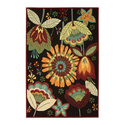 """Nourison - Nourison Fantasy FA12 1'9"""" x 2'9"""" Black Area Rug 03268 - This wildflower print in an ultra-exotic color palette of blue, brown, green, orange, amber, crimson and carmine, affords extraordinary ambiance to even the most ordinary areas. Constructed with hand-hooked, high-density yarns and elegant hand carving, this transitional rug's exciting texture simply begs for barefoot living."""