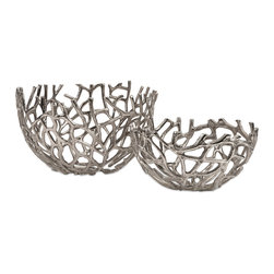 Davidson Aluminum Coral Bowls - Set of 2 - In a striking coral inspired set, the Davidson aluminum coral bowls add a contemporary accent to any coastal inspired room.