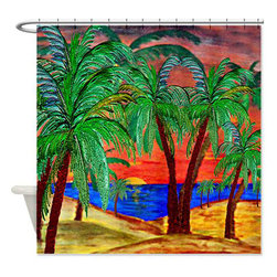 usa - Palm Mountain Sunset Shower Curtain - Beautiful shower curtains created from my original art work. Each curtain is made of a thick water resistant polyester fabric. The permanently applied art work appears on the front side with the inside being white. 12 button holes for easy hanging, machine washable and most importantly made in the USA. Shower rod and rings not included. Size is a standard 70''x70''