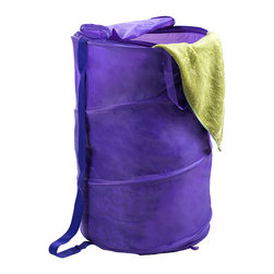 Trademark Global - Purple Pop-Up Laundry Hamper - Both breathable and portable, this collapsible mesh hamper is a great choice for dorm rooms or other small spaces. It features a zippered top and a carrying strap to make transporting laundry simple.   18'' diameter x 27.5'' H Nylon Imported