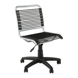 Eurostyle - Bungie Low Back Office Chair-Black/Aluminum - Imagine a colorful, low-back chair that is at home in a kid's room as it in an office. You'll find this one, featuring bungee cords on the back and seat, is tough and comfortable at the same time, with adjustable seat height and a cool, epoxy-coated steel frame. Oh, and it swivels, too.