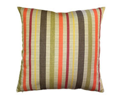Pillow Decor - Pillow Decor - Sunbrella Solano Fiesta 20 x 20 Outdoor Pillow - Soft stripes in orange, red, yellow, brown and tan, combine to create this warm and inviting throw pillow. This is a great pillow for tying in soft wood and earth tones, whether they be inside your home or outside on a sun drenched deck or garden patio.