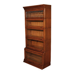 MBW Furniture - Solid Mahogany Barrister Stacking Bookcase Display w/ Leaded Glass - This product is finely constructed from top grade kiln-dried Solid Mahogany. Artisans use the old world method of tongue and groove and mortise and tenon joinery to create this beautiful and durable piece of furniture. Its superb hand-crafted quality will add a touch of elegance to your home.