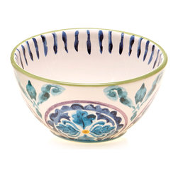 Certified International - Hand-painted Mood Indigo Ceramic Ice Cream Bowls (Set of 4) - Bring a pop of refreshing countryside color to your dining area with this Mood Indigo ice cream bowl set. Hand-painted with a Tuscan-inspired motif,this charming set of bowls is designed with dishwasher-safe ceramic for durability.