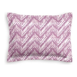 Purple Watercolor Zig Zag Custom Sham - The Simple Sham may be basic, but it won't be boring!  Layer these luxurious reversible shams in various styles for a bed you'll want to fall right into. We love it in this orchid purple and white stepped zig zag print with a modern, yet soft and subtle look.