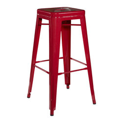 Linon - Linon Square Metal Bar Stool in Red (Set of 2) - Linon - Bar Stools - 03242RED02ASU - Mixing contemporary design with industrial flavor, the Red Square Metal Stool is a trendy seating addition. Crafted from heavy duty steel, the stool has a stationary seat and multiple footrests for added comfort. The bright red finish will add a pop of eye-catching color to your decor. Perfect for pulling up to a counter, bar or high top table. Arrives fully assembled.
