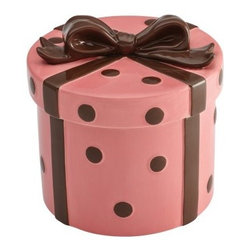 Cake Boss Pink Gift Stoneware Cookie Jar - Fill the Cake Boss Serveware Stoneware Cookie Jar - Pink Gift with your home baked treats for a delightful gift. Pretty and contemporary, this stoneware cookie jar is hand-painted in pink with chocolate brown dots and bow. It's even dishwasher-safe!About Cake Boss Baking Buddy Valastro is a fourth generation baker, runs his family's business, Carlo's Bakery, and is the Cake Boss on TLC. Inspired by Buddy's reality baking series, Cake Boss now offers a comprehensive line of bakeware, cake decorating tools, and kitchen accessories. Designed to make baking fun, these high-quality baking and decorating products let you bake like the boss.