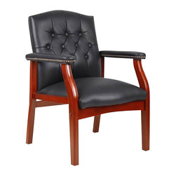 Boss Office Products - Boss Office Products Traditional Tufted Style Italian Leather Guest Chair-Black - Boss Office Products-Guest Chairs-B969BK-Would like to have a seat? The elegant Italian leather upholstery on the Traditional Tufted Style Italian Leather Guest Chair welcomes you. Attend to your guests comfort with the tufted cushioning and armrests on this eye-catching seat. Hand applied antique brass nail trim and mahogany wood finish give your guests and clienette the impression of your professionalism on the Traditional Guest Chair.