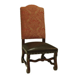 Old World Tuscan Dining Side Chair, Tan and Red - Old World Tuscan Upholstered Leather Seat Dining Side Chair Fiorentina,