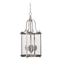 Sea Gull Lighting - Gillmore Brushed Nickel Four Light Hall Foyer Pendant with Clear Glass - - Glass and Shade: Clear�Glass Bulb Not Included  - Canopy Dimensions: Diameter: 5.5-Inch H: 1-Inchshape: Round  - Wire and Cord Length: 144  - Wire and Cord Color: Brown  - Chain Length: 120  - Connection: Hardwired  - Pre-Laced Chain: Pre-Laced Chain Makes Installation Easy Sea Gull Lighting - 5118404-962