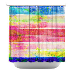 DiaNoche Designs - Shower Curtain Artistic - Spotted Stripes - DiaNoche Designs works with artists from around the world to bring unique, artistic products to decorate all aspects of your home.  Our designer Shower Curtains will be the talk of every guest to visit your bathroom!  Our Shower Curtains have Sewn reinforced holes for curtain rings, Shower Curtain Rings Not Included.  Dye Sublimation printing adheres the ink to the material for long life and durability. Machine Wash upon arrival for maximum softness. Made in USA.  Shower Curtain Rings Not Included.