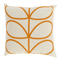 Open Bloom Throw Pillow in Orange - Add whimsical interest to your space with this throw pillow. Made in Portugal and designed by Orla Kiely, it's sure to add an energetic yet soothing vibe to any room. Toss one on a couch, chair, or bed for a comfy-cozy splash of design.