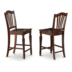East West Furniture - 24 in. Kitchen Dining Stool - Set of 2 - Set of 2. Stools with wood seat. Slat-back stools. Made from hardwood and micro fiber. Mahogany finish. Made in Vietnam. Assembly required. Seat height: 24 in.. Overall: 17.5 in. W x 17 in. D x 42 in. H (38 lbs.)The well-crafted counter stools boast style and comfort with charming fluted legs and supportive stretchers for footrests.