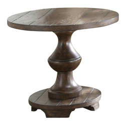 Liberty Furniture - Liberty Furniture Sedona 26 Inch Round End Table in Brown - The Sedona features Spanish style turned legs with a heavy planked top and square peg accents. Bottom shelves for storage and display are featured for each table. This collection is perfect for leather upholstery. What's included: End Table (1).