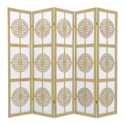 Oriental Furniture - 6 ft. Tall Long Life Shoji Screen - 5 Panel - Natural - Beautiful Shou (longevity) symbol lattice, this room divider attracts good health to the household. Display as an art screen, or for privacy and to define space.