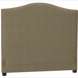 """Raleigh Nailhead Camelback Headboard, King, Washed Linen/Cotton Seagrass - Crafted by our own master upholsterers in the heart of North Carolina, our upholstered bed and headboard is available in a graceful camelback silhouette. Crafted with a kiln-dried hardwood frame. Headboard, footrail and siderails are thickly padded and tightly upholstered with your choice of fabric. Nailhead detail trims the outer edges of the headboard. Exposed block feet have a hand-applied espresso finish. Headboard also available separately. The headboard-only option is guaranteed to fit with our PB metal bedframe using the headboard hardware. Bed is designed for use with a box spring and mattress. This is a special-order item and ships directly from the manufacturer. To see fabrics available for Quick Ship and to view our order and return policy, click on the Shipping Info tab above. This item can also be customized with your choice of over {{link path='pages/popups/fab_leather_popup.html' class='popup' width='720' height='800'}}80 custom fabrics and colors{{/link}}. For details and pricing on custom fabrics, please call us at 1.800.840.3658 or click Live Help. View and compare with other collections at {{link path='pages/popups/bedroom_DOC.html' class='popup' width='720' height='800'}}Bedroom Furniture Facts{{/link}}. Crafted in the USA. Full: 57.5"""" wide x 83.5"""" long x 59"""" high Queen: 64.5"""" wide x 88.5"""" long x 59"""" high King: 80.5"""" wide x 88.5"""" long x 59"""" high Cal. King: 74.5"""" wide x 92.5"""" long x 59"""" high Full: 57.5"""" wide x 4.5"""" thick x 59"""" high Queen: 64.5"""" wide x 4.5"""" thick x 59"""" high King: 80.5"""" wide x 4.5"""" thick x 59"""" high Cal. King: 74.5"""" wide x 4.5"""" thick x 59"""" high"""